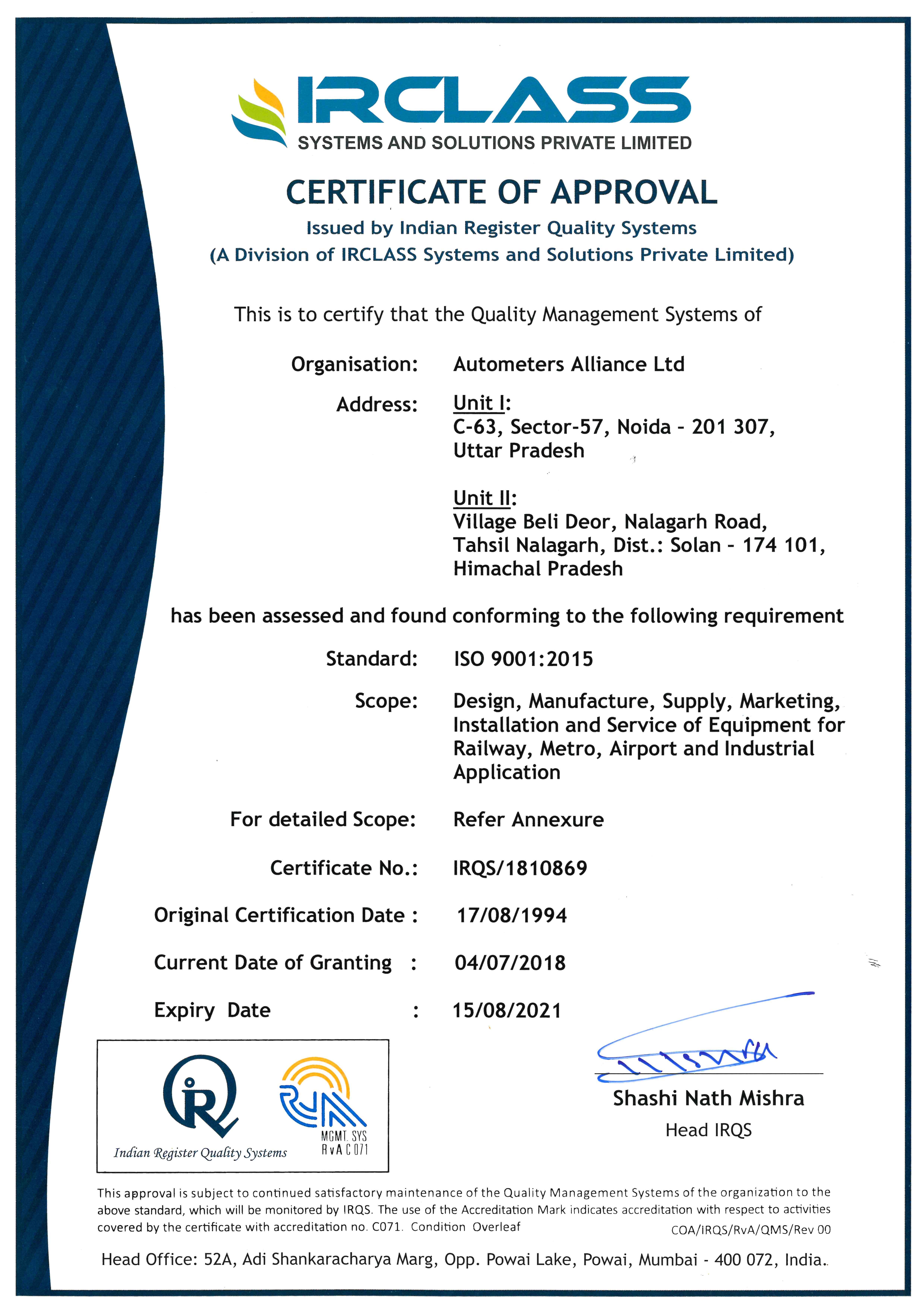 Autometers Alliance Ltd, an ISO 9001 certified company ranks